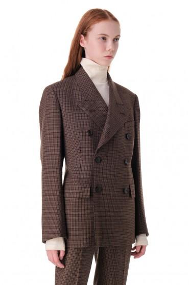 Двубортный пиджак в клетку MAISON MARGIELA MMw20017
