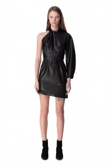 Асимметричное платье из эко-кожи