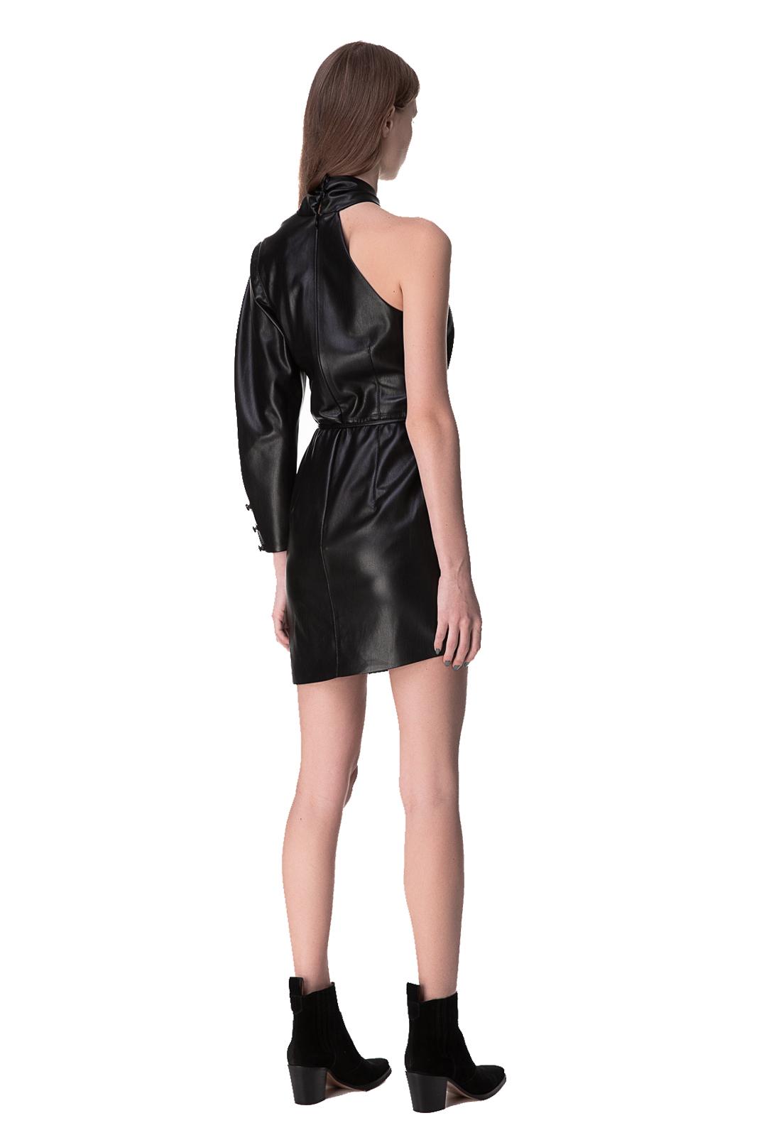 Асимметричное платье из эко-кожи NANUSHKA NANp10006