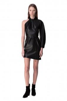Асимметричное платье из эко-кожи от