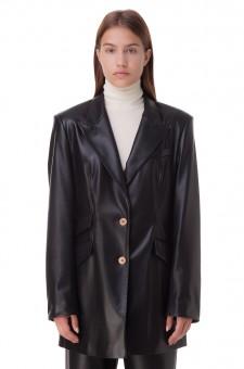 Удлиненный пиджак из эко-кожи