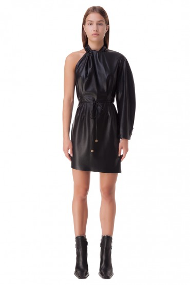 Асимметричное платье из эко-кожи NANUSHKA NANp20005
