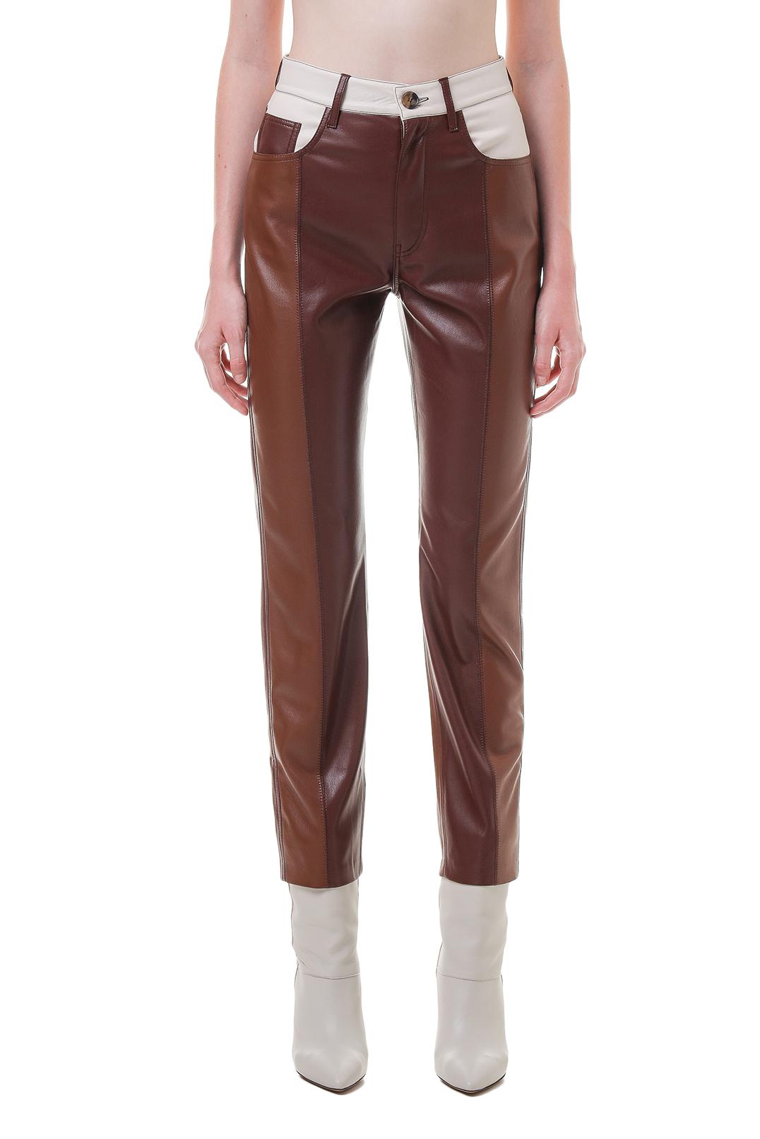 Укороченные брюки из эко-кожи NANUSHKA NANp20015