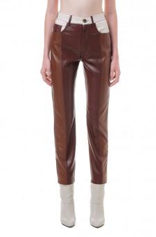 Укороченные брюки из эко-кожи