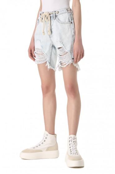 Джинсовые шорты с эффектом потертостей ONE TEASPOON OTS11017