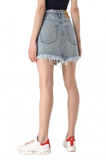 Джинсовая юбка с эффектом потертостей ONE TEASPOON OTS11021