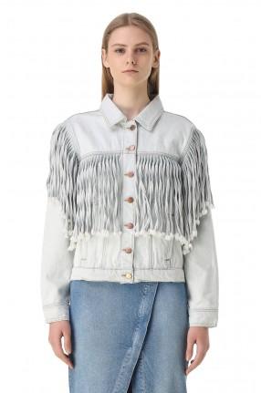 ONE TEASPOON Джинсовая куртка с бахромой