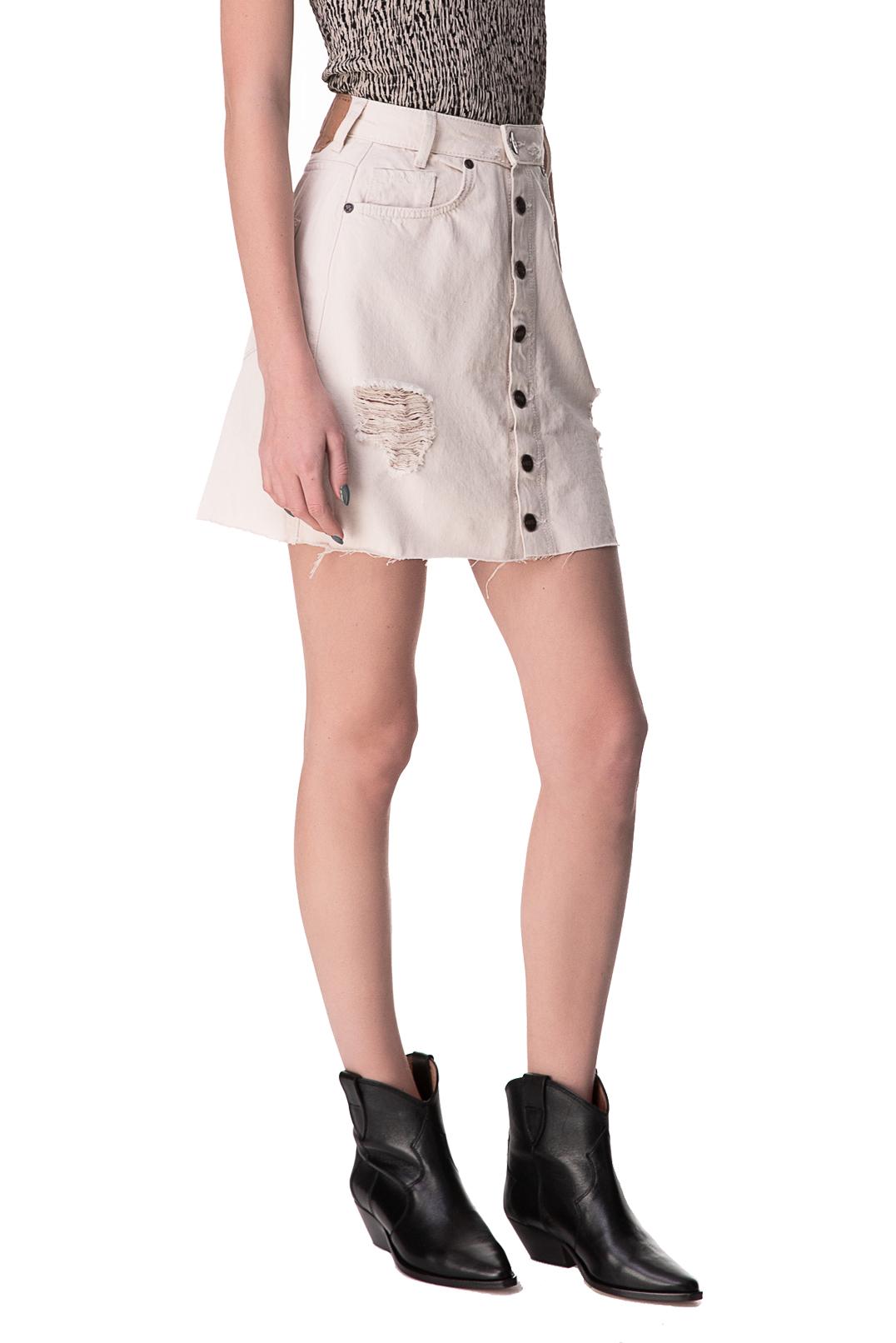 Джинсовая юбка с эффектом потертостей ONE TEASPOON OTSp10002