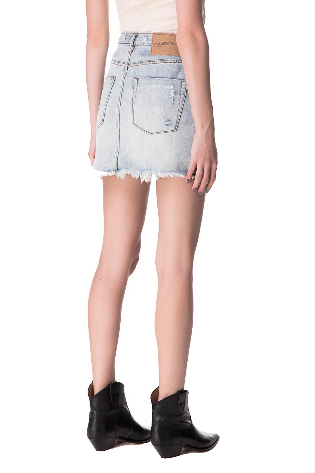 Джинсовая юбка с эффектом потертостей ONE TEASPOON OTSp10005