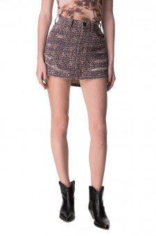 Джинсовая юбка с принтом