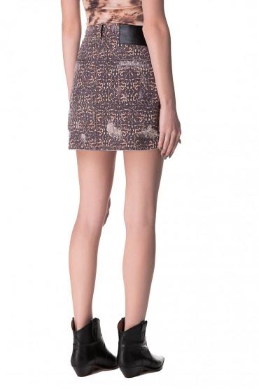 Джинсовая юбка с принтом ONE TEASPOON OTSp10016