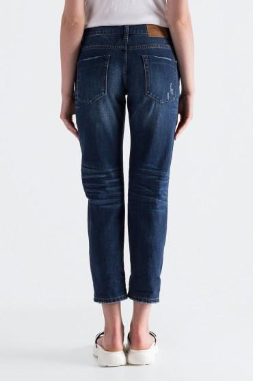Укороченные джинсы с эффектом потертостей ONE TEASPOON OTSp19004