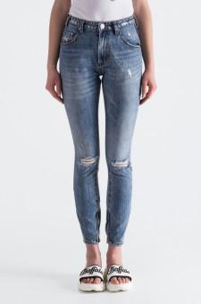 Укороченные джинсы с эффектом потертостей