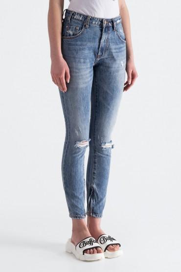 Укороченные джинсы с эффектом потертостей ONE TEASPOON OTSp19007
