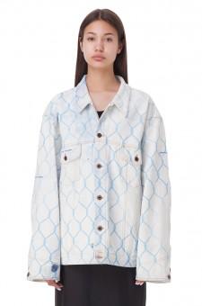 Джинсовая куртка oversize с принтом