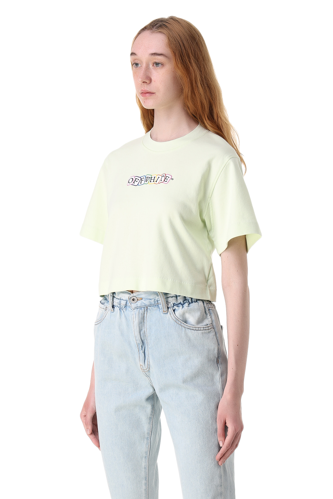 Укороченная футболка с логотипом OFF-WHITE OWw11005