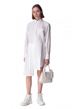 OFF-WHITE Асимметричное платье-рубашка на запах