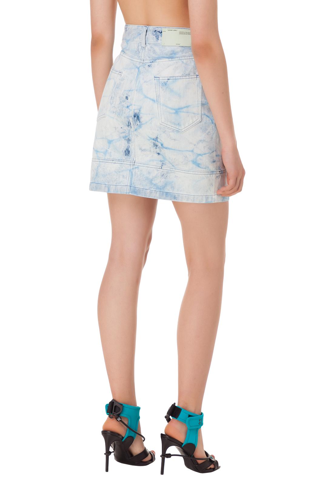 Джинсовая юбка с принтом OFF-WHITE OWwp10045