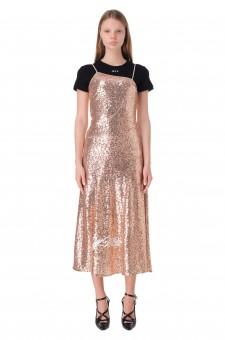 Платье в пайетках с логотипом