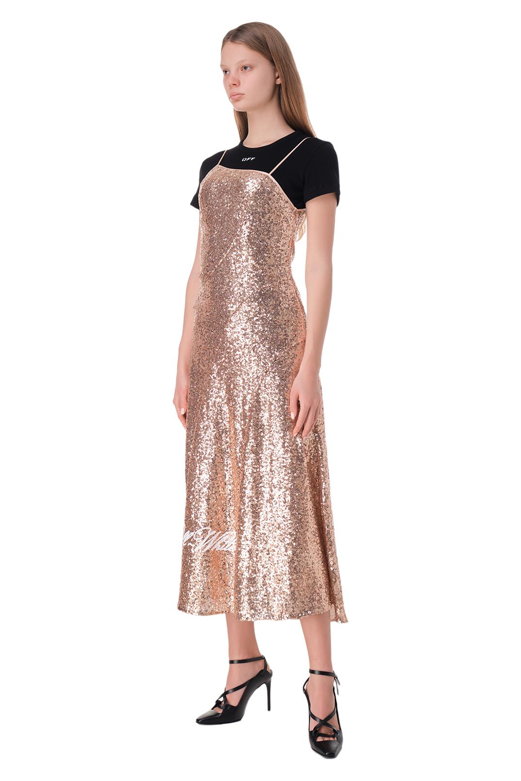 Платье в пайетках с логотипом OFF-WHITE OWwp11020