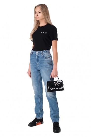 Удлиненные джинсы с эффектом потертостей OFF-WHITE OWwp11036