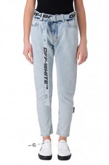 Укороченные джинсы со съемным поясом