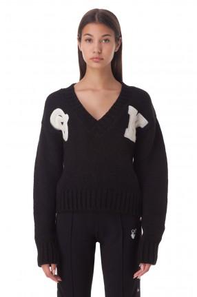 OFF-WHITE Укороченный свитер с нашивками