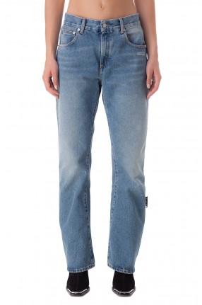 OFF-WHITE Удлиненные джинсы с эффектом потертостей