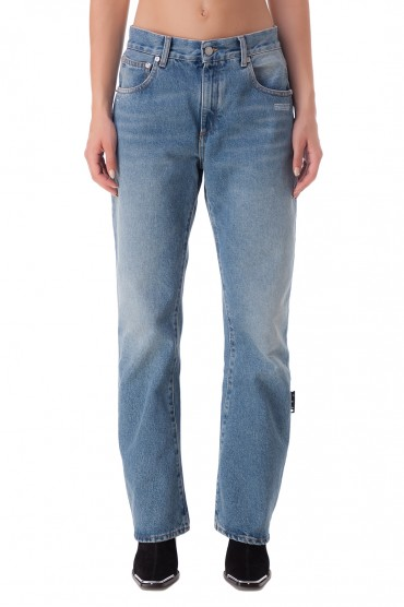 Удлиненные джинсы с эффектом потертостей OFF-WHITE OWwp20034