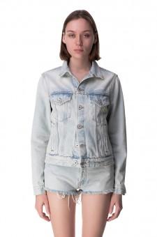 Джинсовая куртка с эффектом потертостей