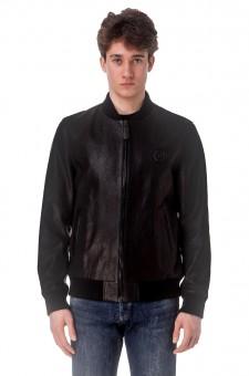 Перфорированная кожаная куртка с логотипом