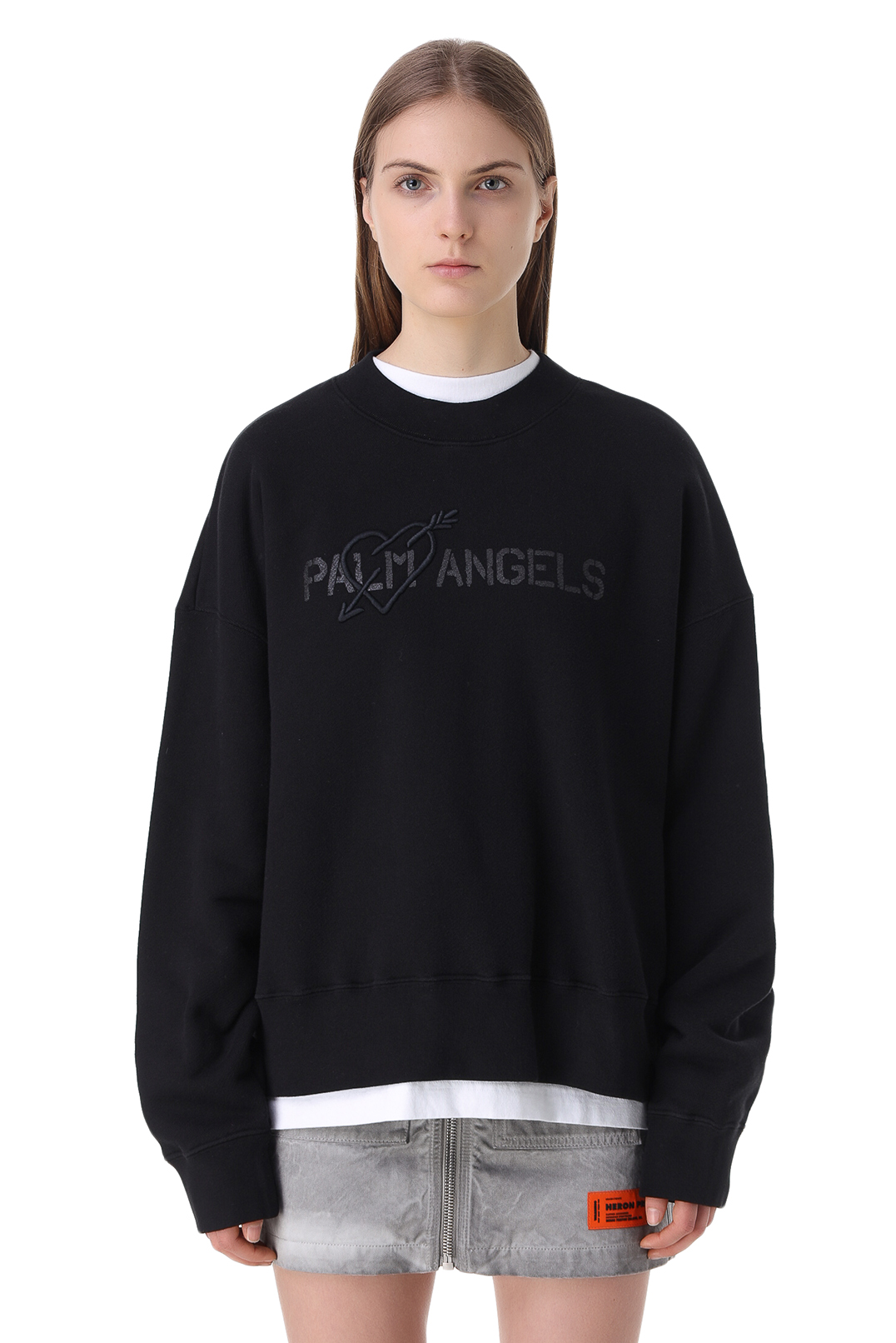 Свитшот oversize c логотипом и вышивкой PALM ANGELS PLMw11011