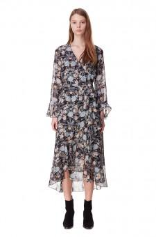 Платье на запах с принтом