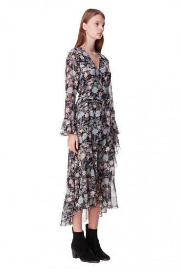 Платье на запах с принтом POUSTOVIT POUS10004