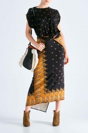 PACO RABANNE Асимметричное платье с принтом