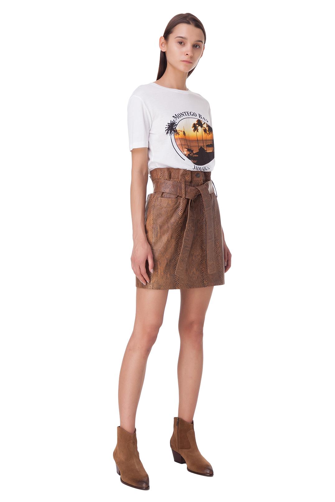 Кожаная юбка с анималистическим принтом RAIINE RAIN10003
