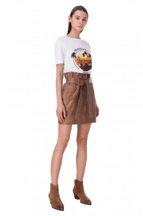RAIINE Кожаная юбка с анималистическим принтом