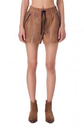 RAIINE Кожаные шорты с анималистическим принтом