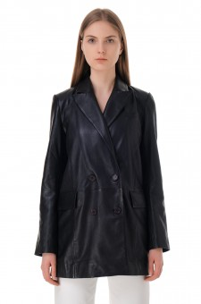 Двубортный кожаный пиджак