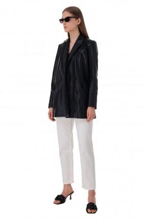 RAIINE Двубортный кожаный пиджак