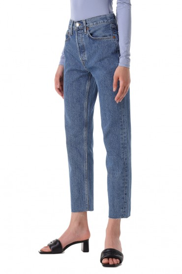 Укороченные джинсы с эффектом потертостей RE/DONE RED21004