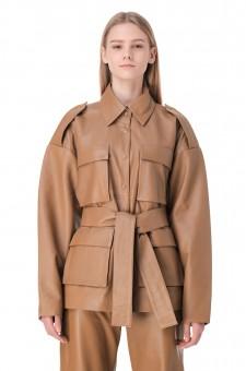 Кожаная куртка со съемным поясом