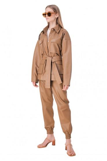 Кожаная куртка со съемным поясом REMAIN REM11007