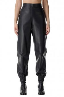 Кожаные брюки с эластичным поясом