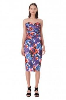 Платье-бюстье с принтом