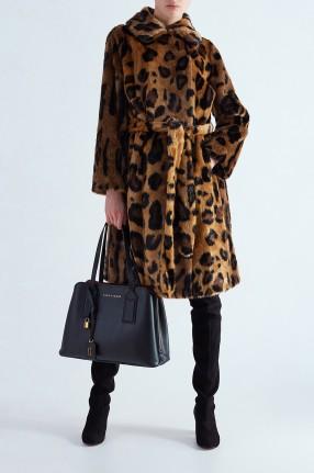 STAND STUDIO Леопардовое пальто из эко меха