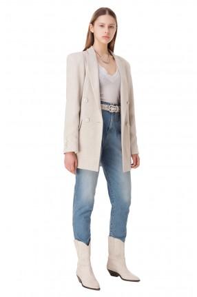 TRE BY NATALIE RATABESI Укороченные джинсы с эффектом потертостей
