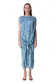 Драпированное платье с цветочным принтом