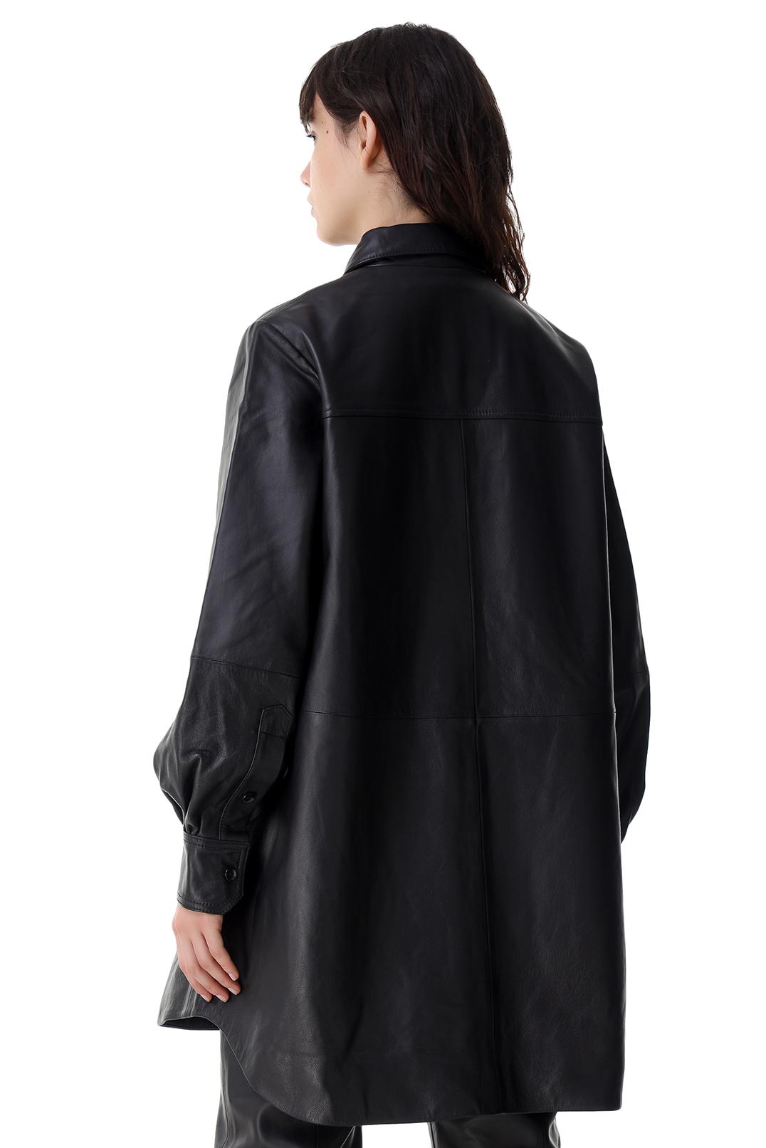 Кожаная рубашка oversize WON HUNDRED WON21002