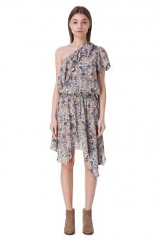 Асимметричное платье с принтом